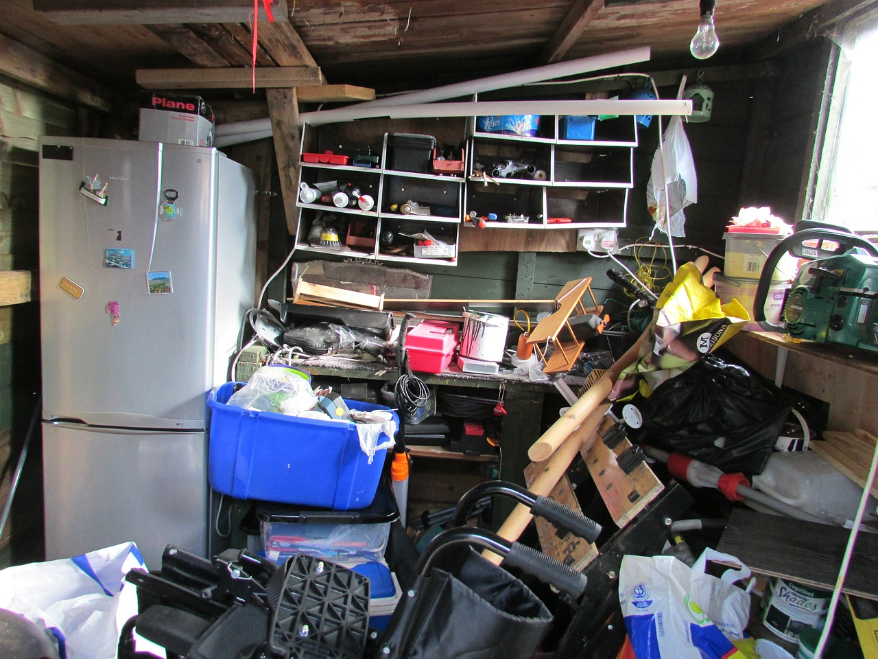 Cluttered storage room with no space.