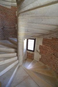 A stone spiral staircase