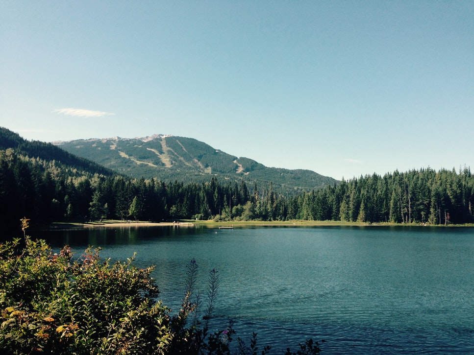 A lake in the mountains.
