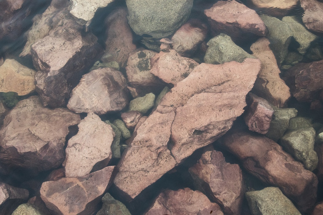 Rocks in a riverbed.