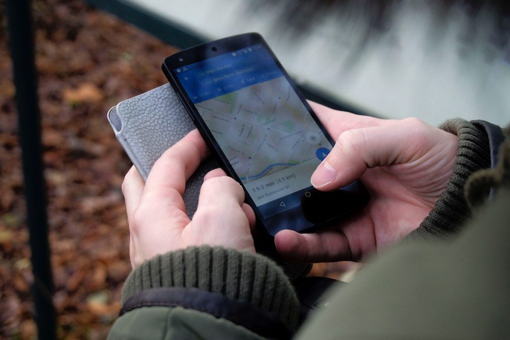 Person using a phone map
